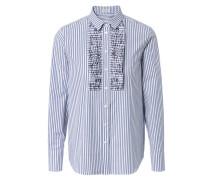 Gestreifte Baumwoll-Bluse mit frontaler Applikation Blau/Weiß