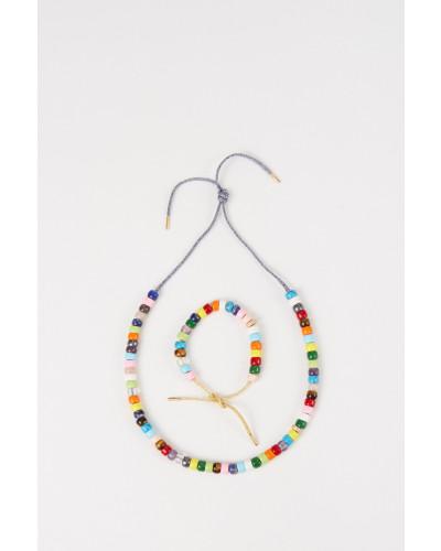 Perlenset 'FORTE Beads' mit Armband und Kette Gold/Blau