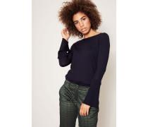 Pullover mit Plissiertem Ärmel Marineblau