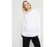 Baumwoll-Bluse mit asymmetrischem Kragen Weiß