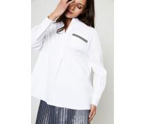 Oversized Bluse mit Perlenverzierung Weiß