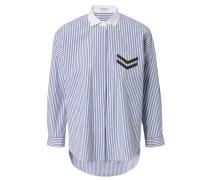 Gestreifte Baumwoll-Bluse mit abgesetzten Kragen Blau/Weiß
