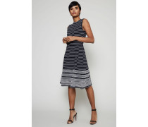 Gestreiftes Cocktail Kleid Marineblau