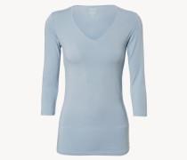 Basic Shirt mit 3/4-Ärmeln Hellblau