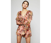 Seiden-Overall 'Lovelorn Frill Playsuit' Rosa/Multi