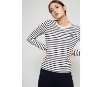 Gestreiftes Langarmshirt 'Moa' Weiß/Marineblau