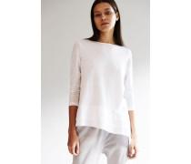 Langarm-Shirt mit abgesetztem Saum Weiß