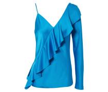 Shirt mit Volants Blau