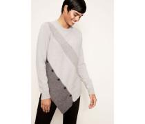 Asymmetrischer Pullover mit Knopf-Details Grau