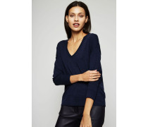V-Neck Pullover Grau/Marineblau