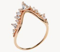 Ring 'Fusion Wave Large' mit Diamanten 18K Roségold