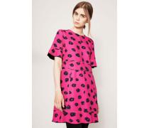 Volant-Kleid mit Musterprint Pink