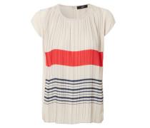 Gerafftes Shirt mit Streifen-Print Beige/Multi