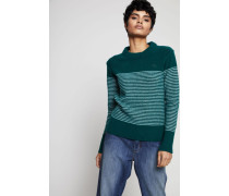 Woll-Pullover Green White