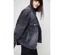 Oversized Jeansjacke mit Schriftzug Black Multi