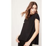 T-Shirt mit plissiertem Rückenteil Schwarz