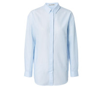 Oversize-Bluse 'Bela Thin Stripe' Weiß/Blau