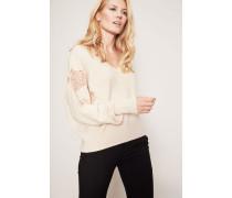 Cashmere-Pullover mit Spitzendetails Beige