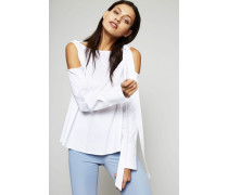 Bluse mit Schulter-Cut-Outs Weiß