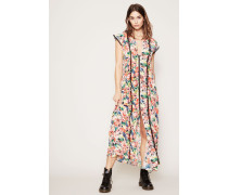 Langes Seiden-Kleid mit floralem Print Multi