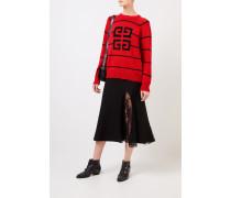 Gestreifter Woll-Pullover mit Logo-Detail Rot/Schwarz