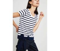 Gestreiftes T-Shirt mit Schleifendetail Blau/Weiß