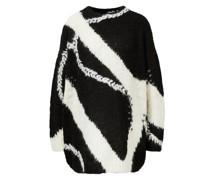 Oversized Alpaka-Pullover 'Vitesa' Schwarz/Weiß