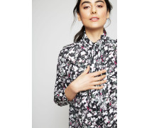 Seidenbluse mit Binde-Detail 'Bodil' Flower Black