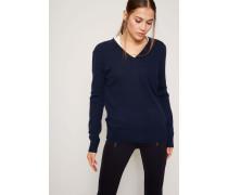 Pullover mit Knoprverzierung Marineblau