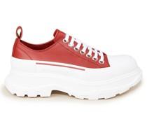 Leder-Sneaker mit breiter Sohle /Weiß