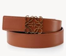 Leder-Gürtel mit Logo-Schließe Braun
