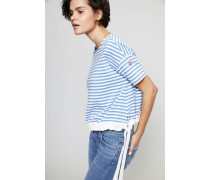 Baumwoll-Shirt mit Kordelzug am Saum Blau/Weiß