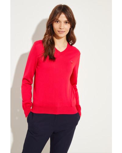 Woll-Pullover mit Herz-Emblem Rot