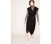 Woll-Kleid mit Bindeelement Schwarz