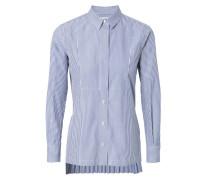 Bluse mit rückseitigen Plisséefalten Blau/Weiß