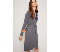 Cashmere-Wickelkleid 'New Linda Knit Wrap Dress' Dunkelgrau