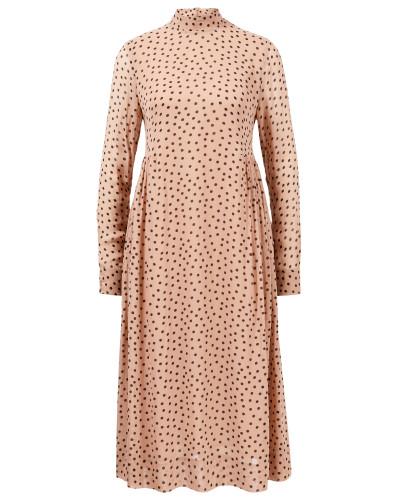 Midi-Kleid mit Polka Dots Beige/Multi