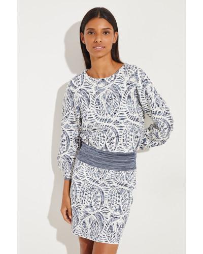 Pullover mit Puffärmeln Blau/Multi
