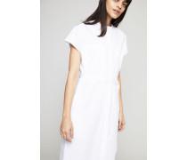 Baumwoll-Kleid mit Bindedetail Weiß