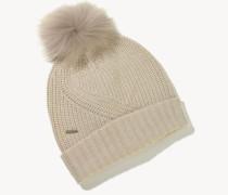 Woll-Mütze mit Bommel Hellbeige