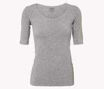 Weiches Rundhals-Neck-Shirt Grau Mélange