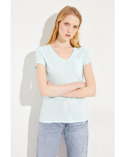 Leinen T-Shirt Aqua