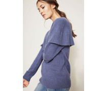Cashmere-Pullover Volant Jeansblau