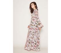 Seiden-Maxikleid 'Rosemary' mit floralem Print Weiß/Multi