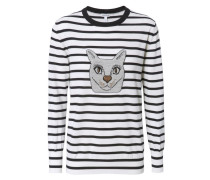 Gestreifter Pullover Schwarz/Weiß