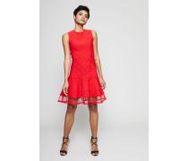 Stretch-Kleid mit Netz-Einsatz Lust Red