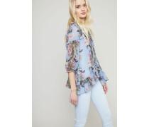 Bluse mit Blumenmuster und Volants Blau/Multi