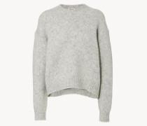 Flauschiger Oversize-Pullover Grau Mélange