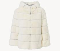 Kurze Jacke aus Kaninchenfell Weiß