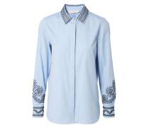 Verzierte Bluse 'Keagan' Blau/Schwarz